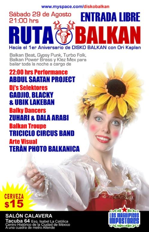 Fiesta Balkan.  Sábado 29 de agosto de 2009